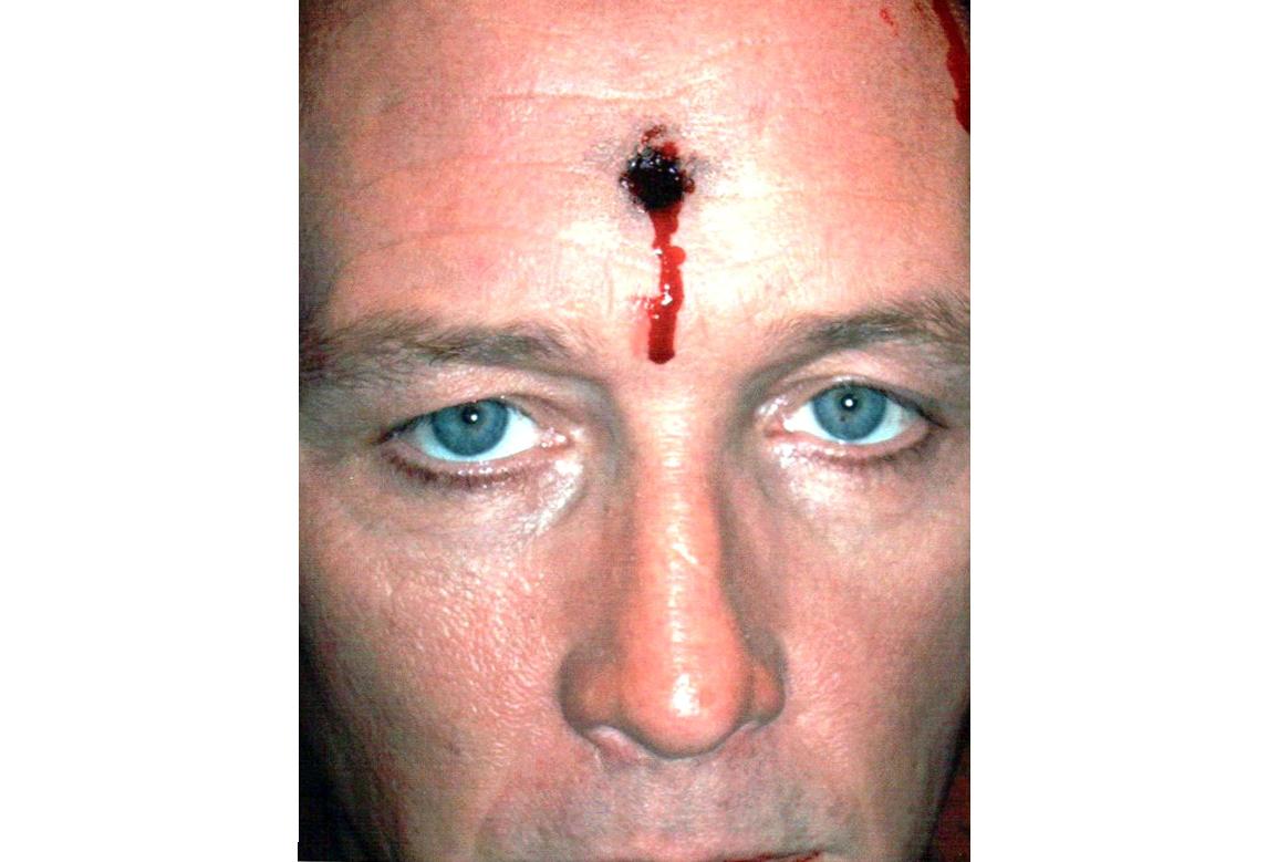 bullet hole head makeup