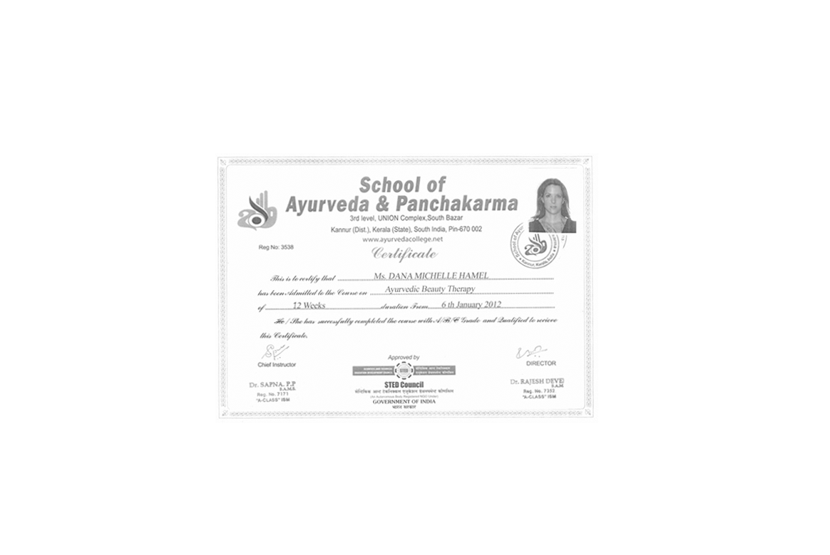 ayurvedic beauty certificate