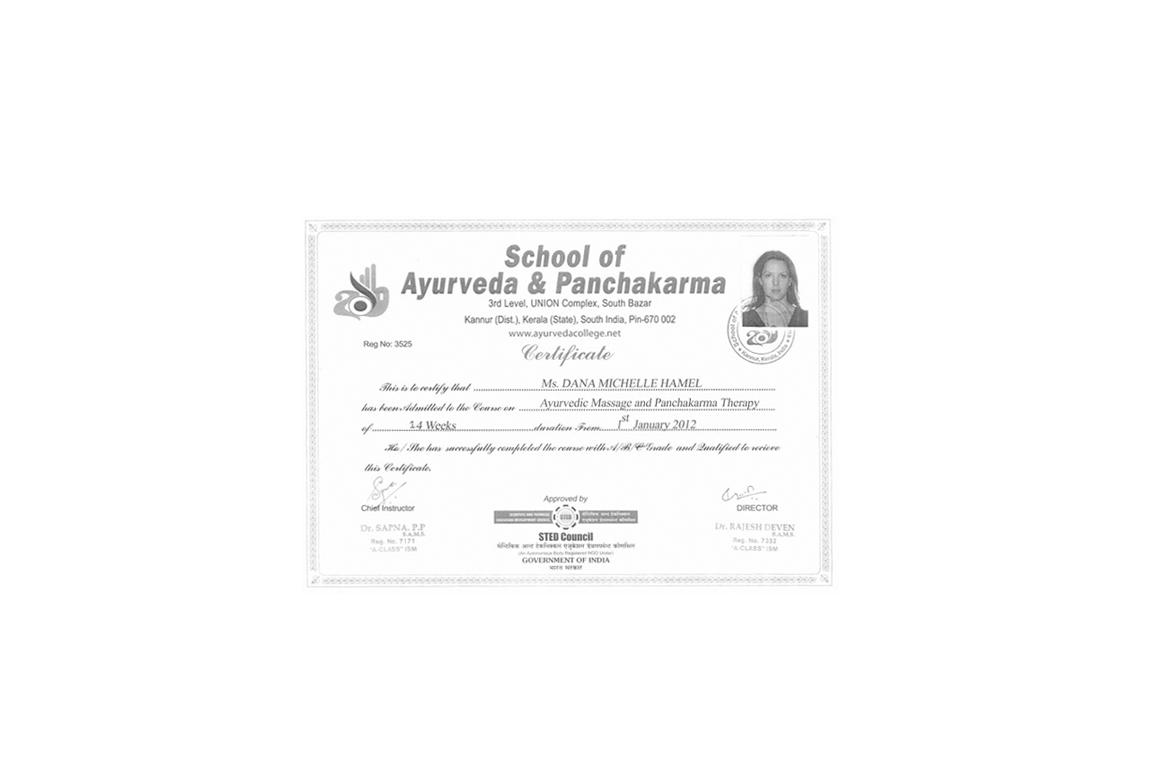 ayurvedic certificate