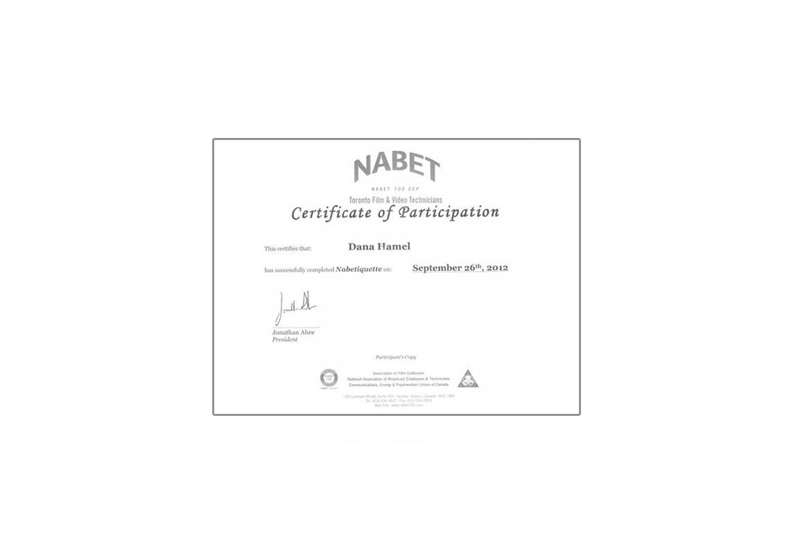 Nabet Film Video Certificate
